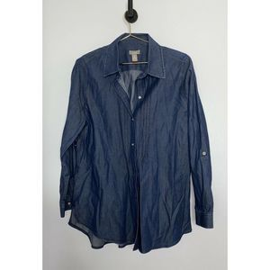 Chico's Button Up Chambray Shirt Long Sleeve